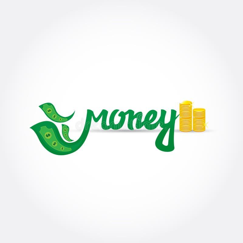 Geld van letters voorziend embleem Groene brieven met gouden muntstukken Logotypemalplaatje voor het brandmerken en ontwerp Vecto stock illustratie