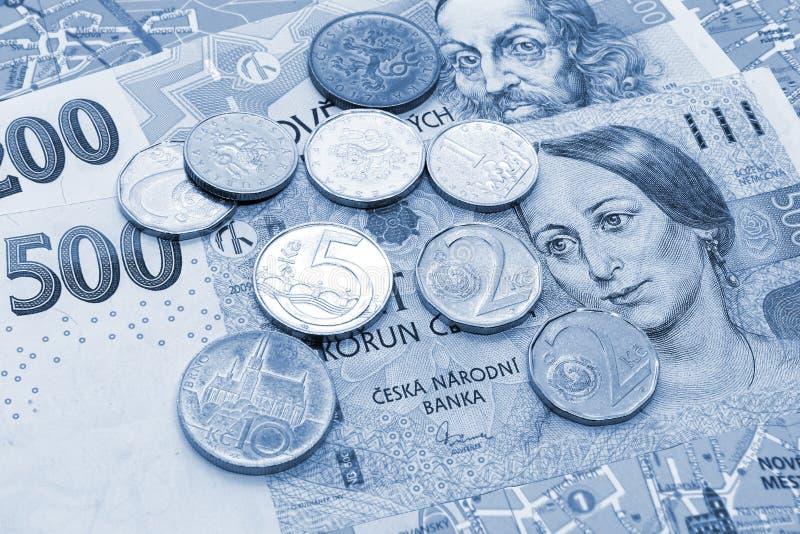 Geld van Tsjechische Republiek, bankbiljetten en muntstukken op toeristenkaart