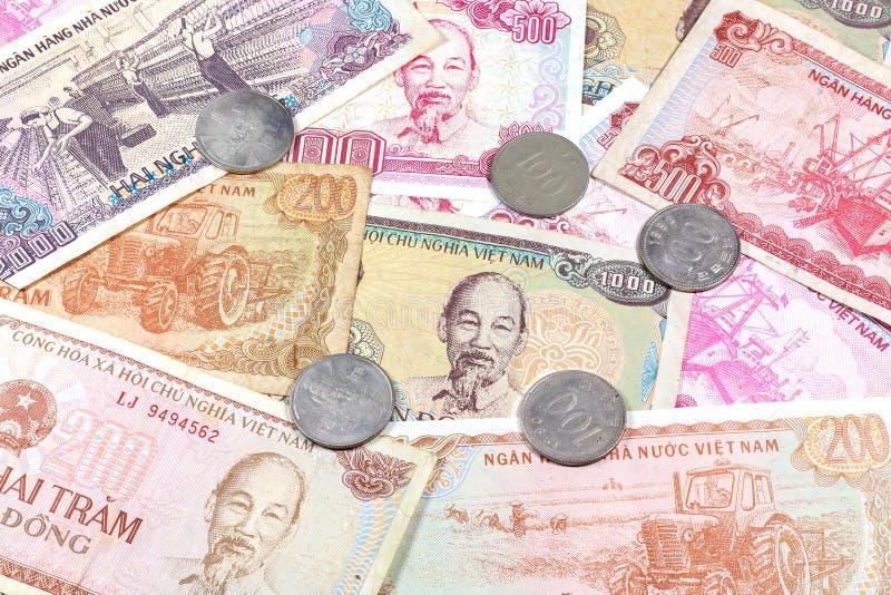 Geld van Vietnam, diverse Dongbankbiljetten en muntstukken royalty-vrije stock foto