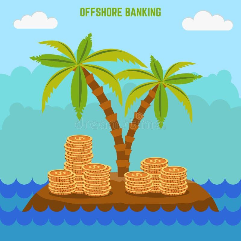 Geld versteckt auf der Insel in der Offshorezone Steuerflucht lizenzfreie abbildung