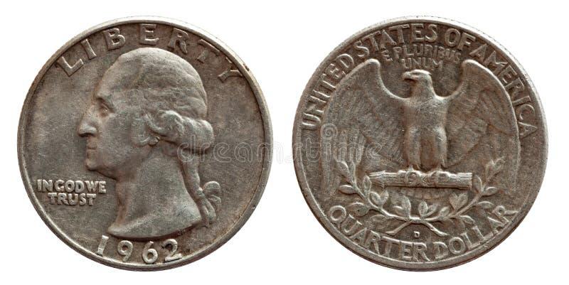 Geld-Vierteldollar-Münzsilber Vereinigter Staaten, 25 Cents lokalisiert auf Weiß lizenzfreie stockbilder