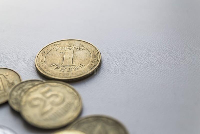 Geld von Ukraine, ukrainische Münzen Ein UAH-Nahaufnahmefoto stockfotos
