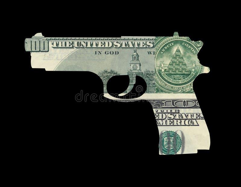 Geld in vorm van kanon royalty-vrije stock fotografie