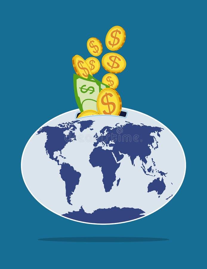 Geld in wereldspaarvarken dat wordt gegoten Vector illustratie stock illustratie