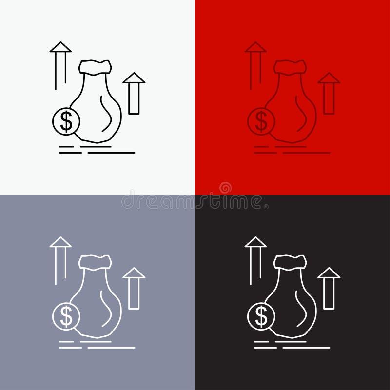 geld, zak, dollar, de groei, voorraadpictogram over Diverse Achtergrond r EPS 10 vector vector illustratie