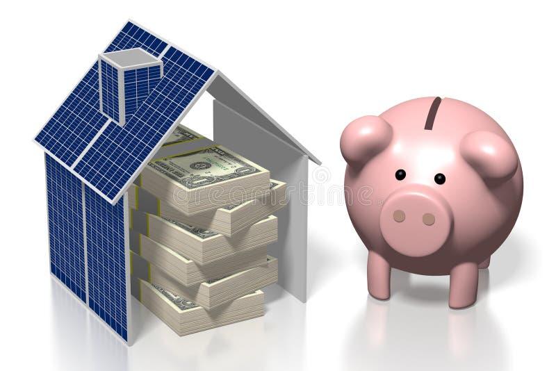 Geld, zonnepanelenconcept royalty-vrije illustratie