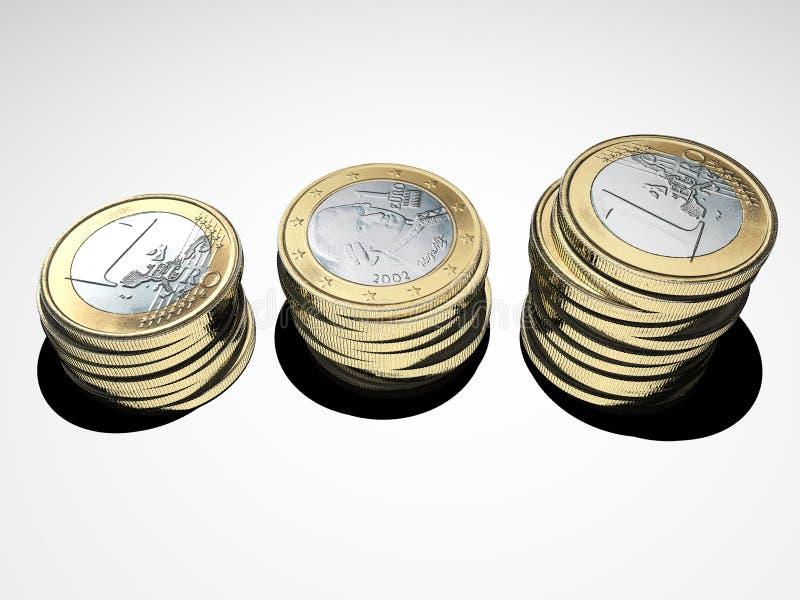 Geldanlage Stapel der Euromünzen Gestapeltes Geld sparungen lizenzfreie abbildung