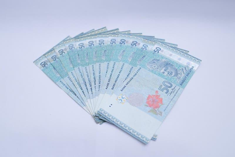 50 Geldanmerkungen des malaysischen Ringgit lizenzfreies stockbild
