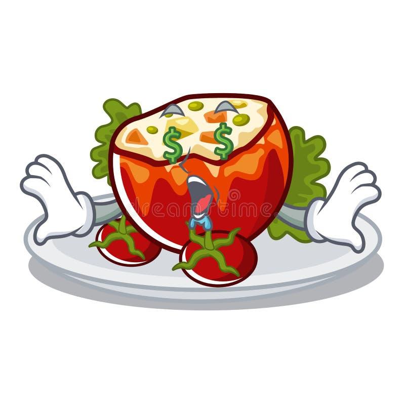 Geldauge füllte Tomaten in der Karikaturform an vektor abbildung