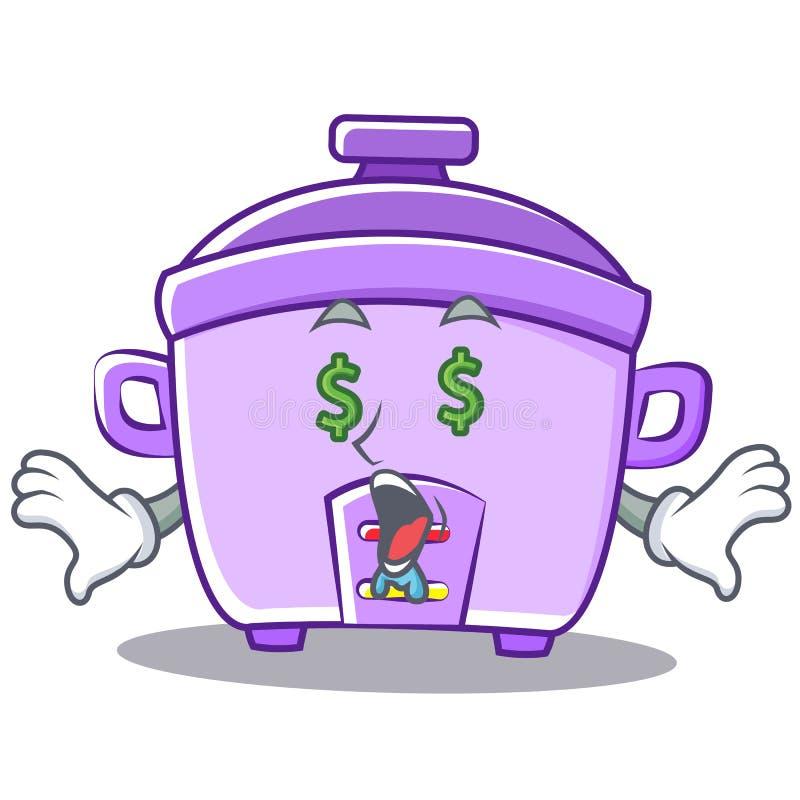 Geldaugen-Reiskocher-Charakterkarikatur lizenzfreie abbildung