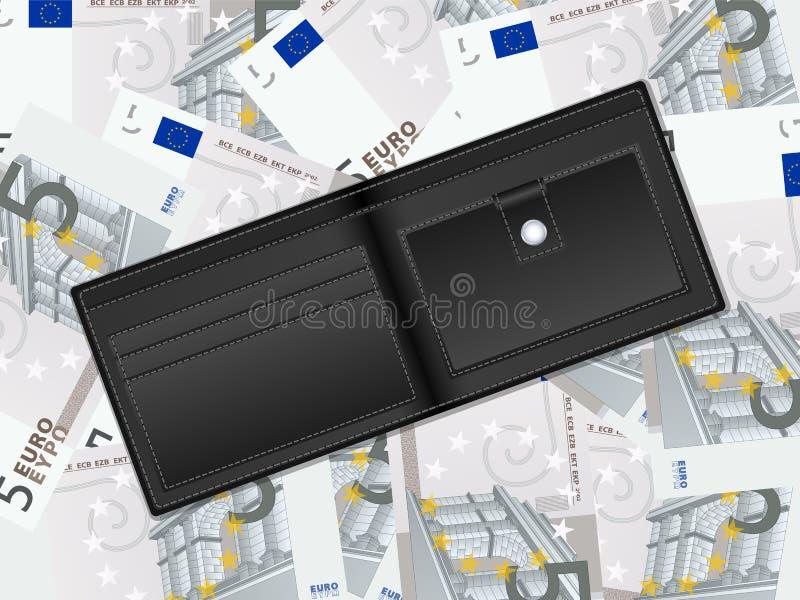Geldbörse auf Hintergrund des Euros fünf lizenzfreie abbildung