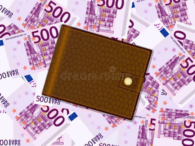 Geldbörse auf Hintergrund des Euros fünfhundert lizenzfreie abbildung
