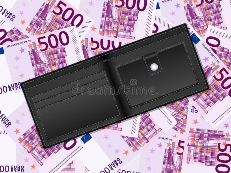 Geldbörse auf Hintergrund des Euros fünfhundert stock abbildung