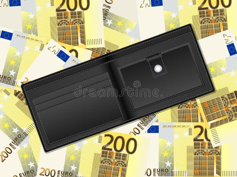 Geldbörse auf Hintergrund des Euros zweihundert stock abbildung