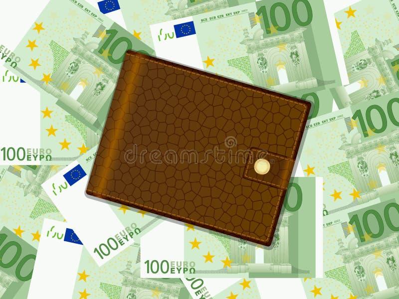 Geldbörse auf hundert Eurohintergrund vektor abbildung
