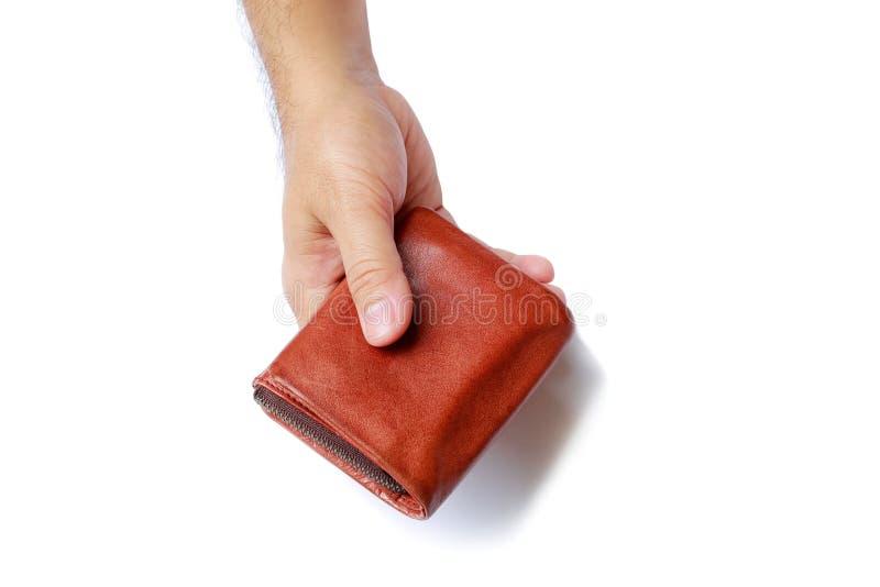 Geldbörse in Männer ` s Hand lokalisiert auf weißem Hintergrund lizenzfreie stockfotografie