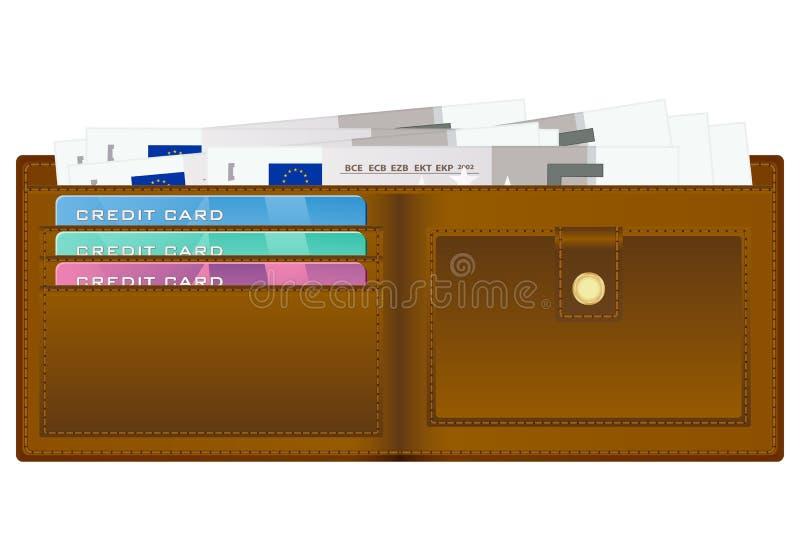 Geldbörse mit Banknote des Euros fünf lizenzfreie abbildung