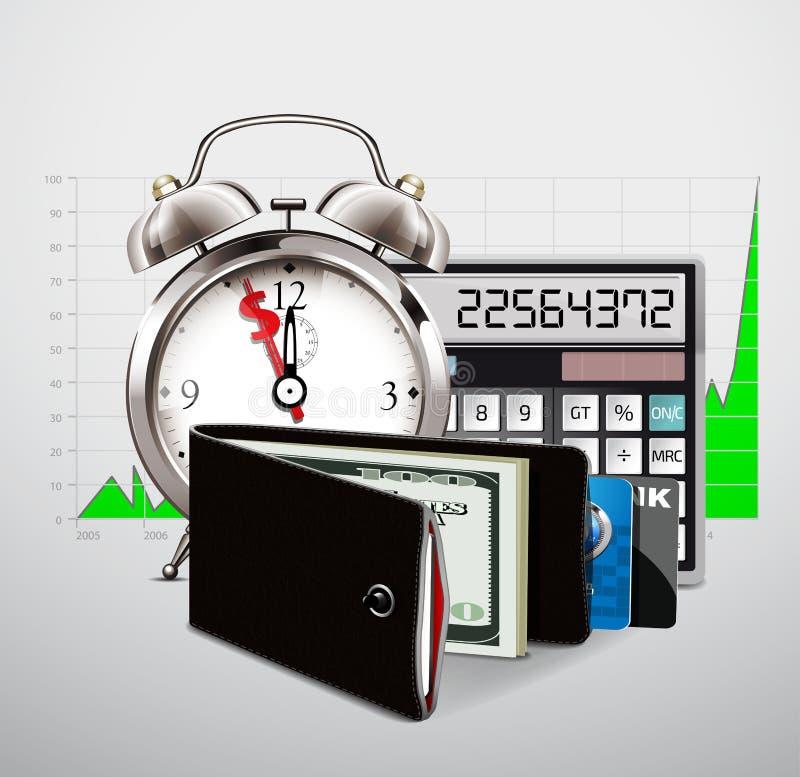 Geldbörse mit Bargeld und Kreditkarten stock abbildung