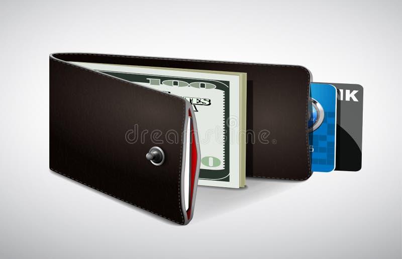 Geldbörse mit Bargeld und Kreditkarten lizenzfreie abbildung