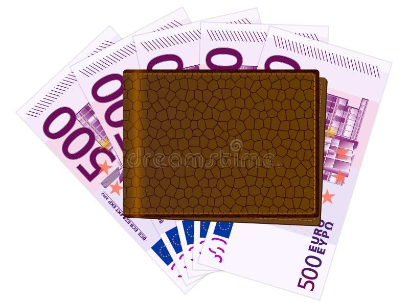 Geldbörse mit fünfhundert Eurobanknoten lizenzfreie abbildung