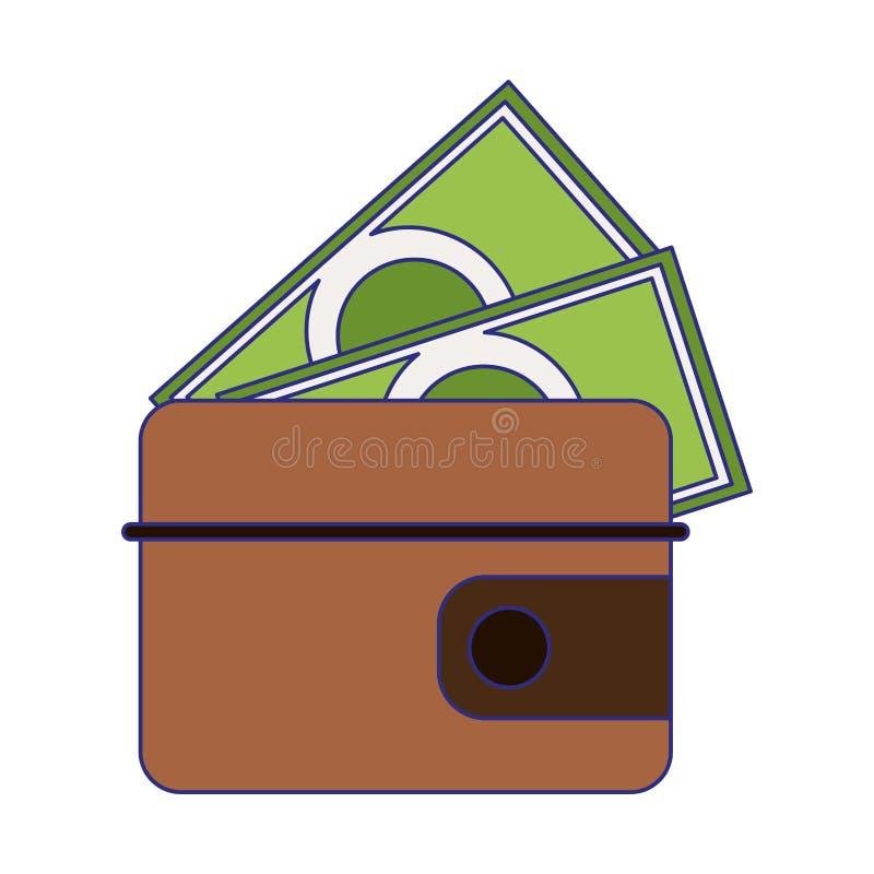 Geldbörse mit lokalisierten blauen Linien des Bargeldes Symbol vektor abbildung