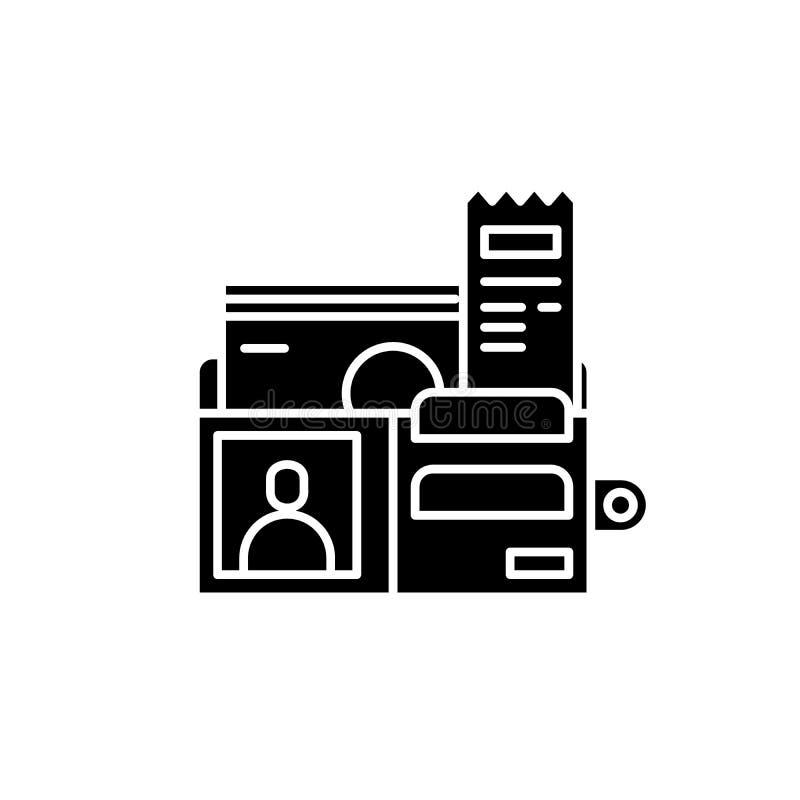 Geldbörse voll der schwarzen Ikone des Geldes, Vektorzeichen auf lokalisiertem Hintergrund Geldbörse voll des Geldkonzeptsymbols, vektor abbildung