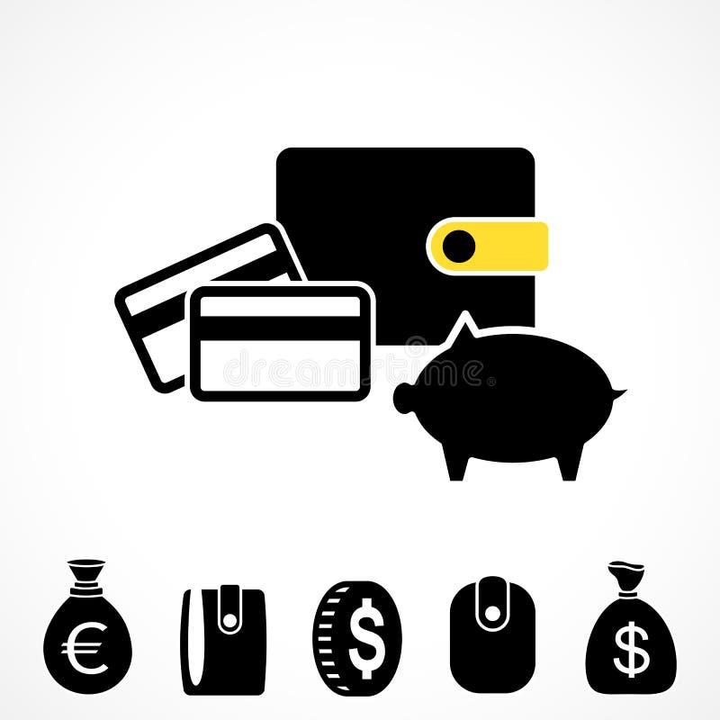 Geldbörsen-oder Taschenbuch-Vektor-Ikone vektor abbildung