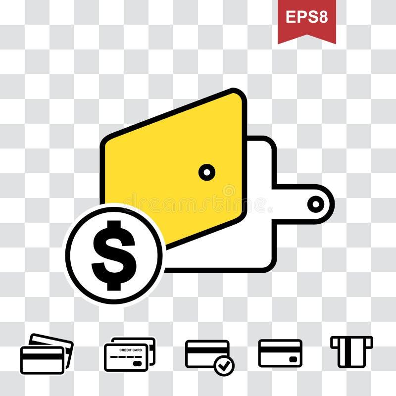 Geldbörsen-oder Taschenbuch-Vektor-Ikone stock abbildung