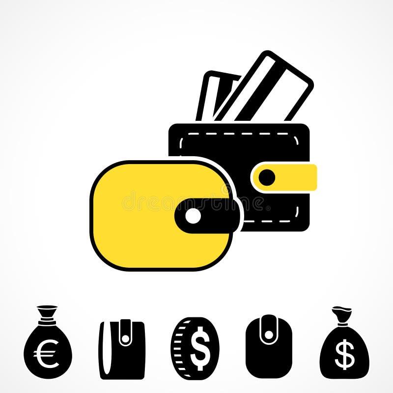 Geldbörsen-oder Taschenbuch-Vektor-Ikone lizenzfreie abbildung