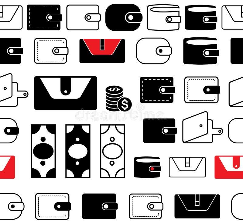 Geldbörsen-oder Taschenbuch-Vektor-Ikonen-nahtlose Grenzen oder Linien stock abbildung