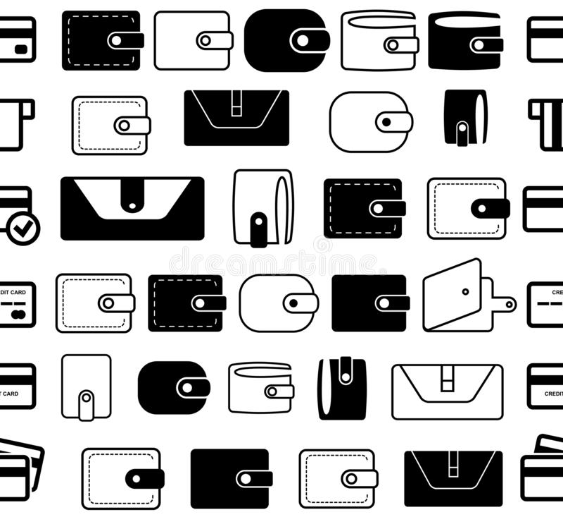 Geldbörsen-oder Taschenbuch-Vektor-Ikonen-nahtlose Grenzen oder Linien lizenzfreie abbildung