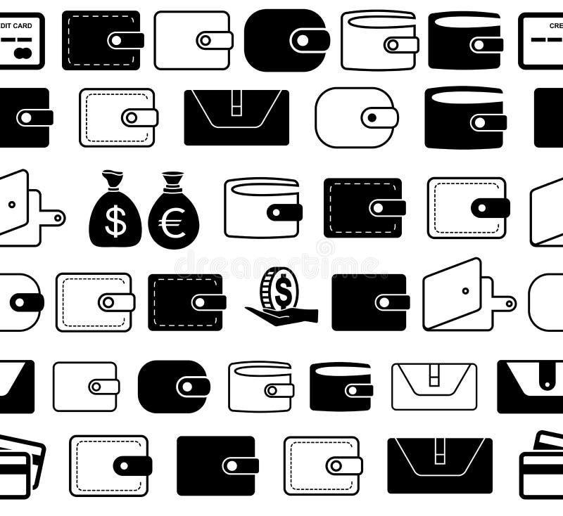 Geldbörsen-oder Taschenbuch-Vektor-Ikonen-nahtlose Grenzen oder Linien vektor abbildung