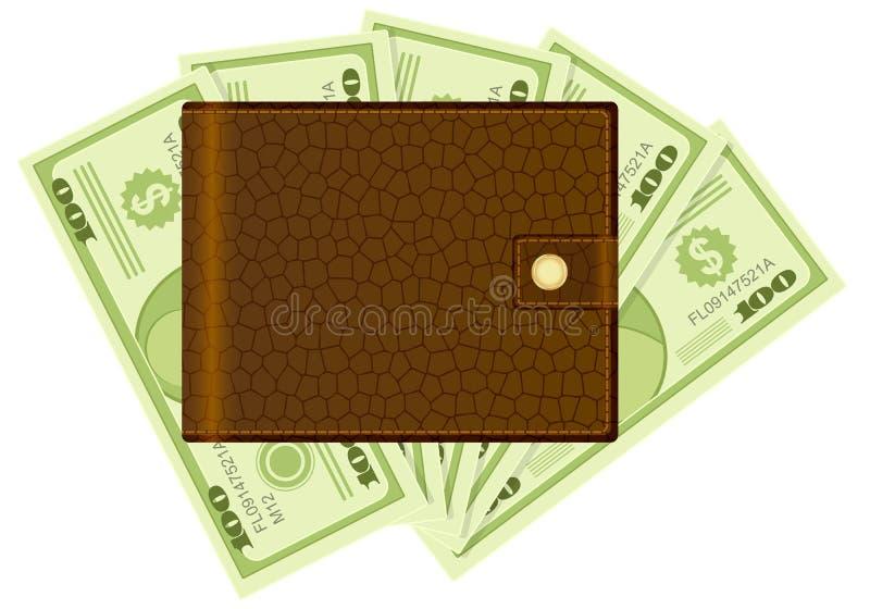 Geldbörsen- und Dollarbanknoten stock abbildung