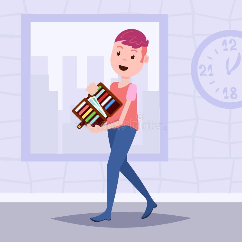 Geldbörsendollarbanknoten-Kreditkarteschablone der Mannholding offene für die Planungsarbeit und Animation flach vektor abbildung
