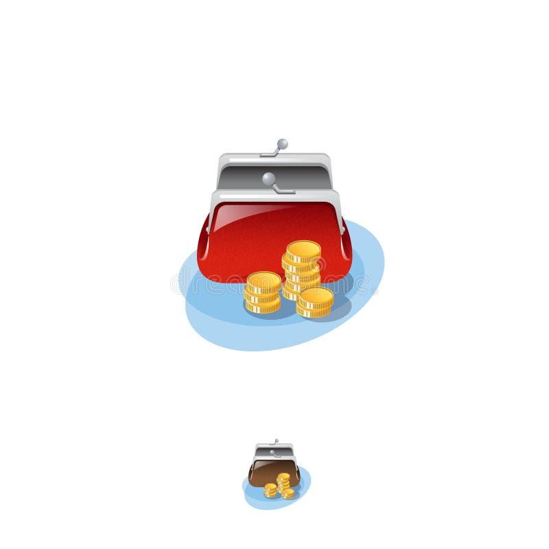 Geldbörsenikone Bankwesennetzikone Ein heller Geldbeutel ist offene und Goldmünzen nahe ihm stock abbildung