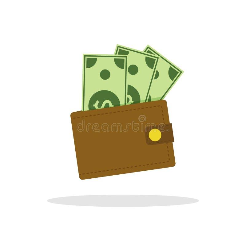 Geldbörsenikone Flache Geldbörsenillustration des Vektors Geldbargeldhaufen stock abbildung
