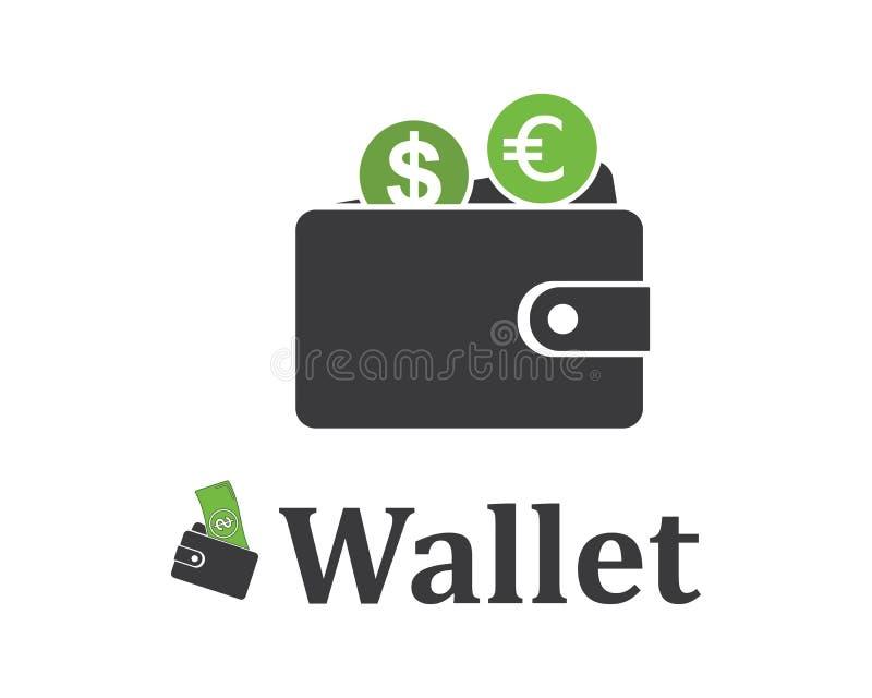 Geldbörsenlogo-Ikone vecto lizenzfreie abbildung