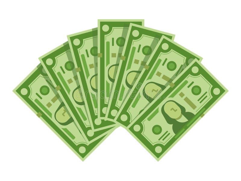 Geldbanknotenfan Stapel des Dollarbargeldes, grüne Dollarscheine häufen oder Währungswährung lokalisierte Vektorillustration lizenzfreie abbildung