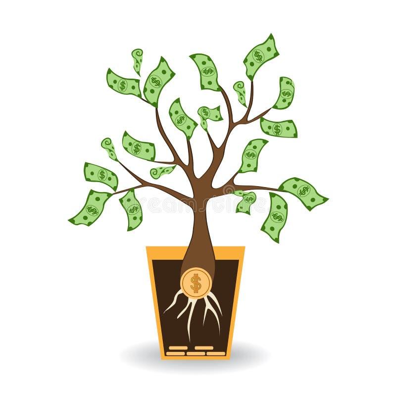 Geldbaum, der von einer Münzenwurzel wächst Grüner Bargeldbanknotenbaum im keramischen Topf Moderner flacher Artkonzeptvektor lizenzfreie abbildung