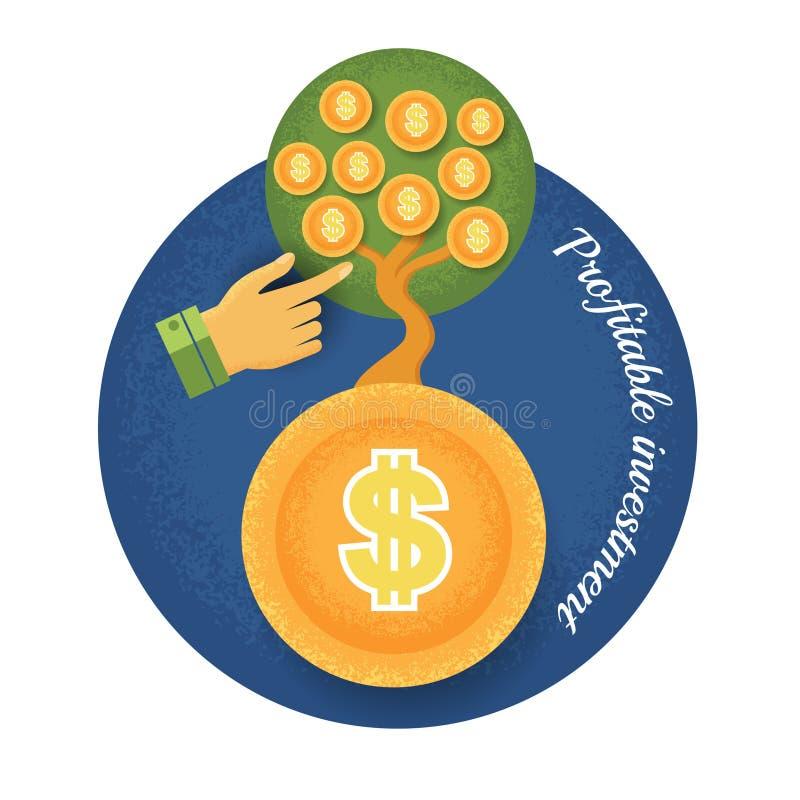 Geldbaum wachsen von der Münze mit Handzeiger stock abbildung