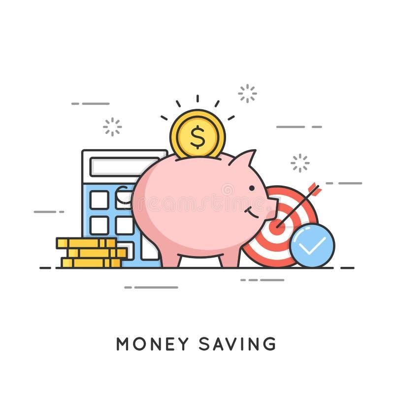 Geldbesparing, stortingsinvestering, begrotingsbeheer, economie stock illustratie