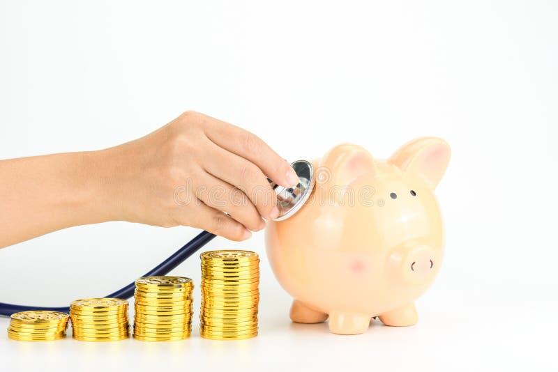 Geldbesparingen en het concept van gezondheidszorgkosten royalty-vrije stock fotografie