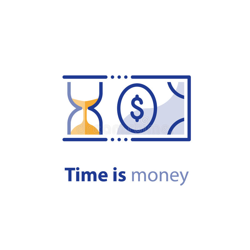 Geldbesparingen, investeringsplan, effectenbeurs, de financiëndiensten, lijnpictogram royalty-vrije illustratie