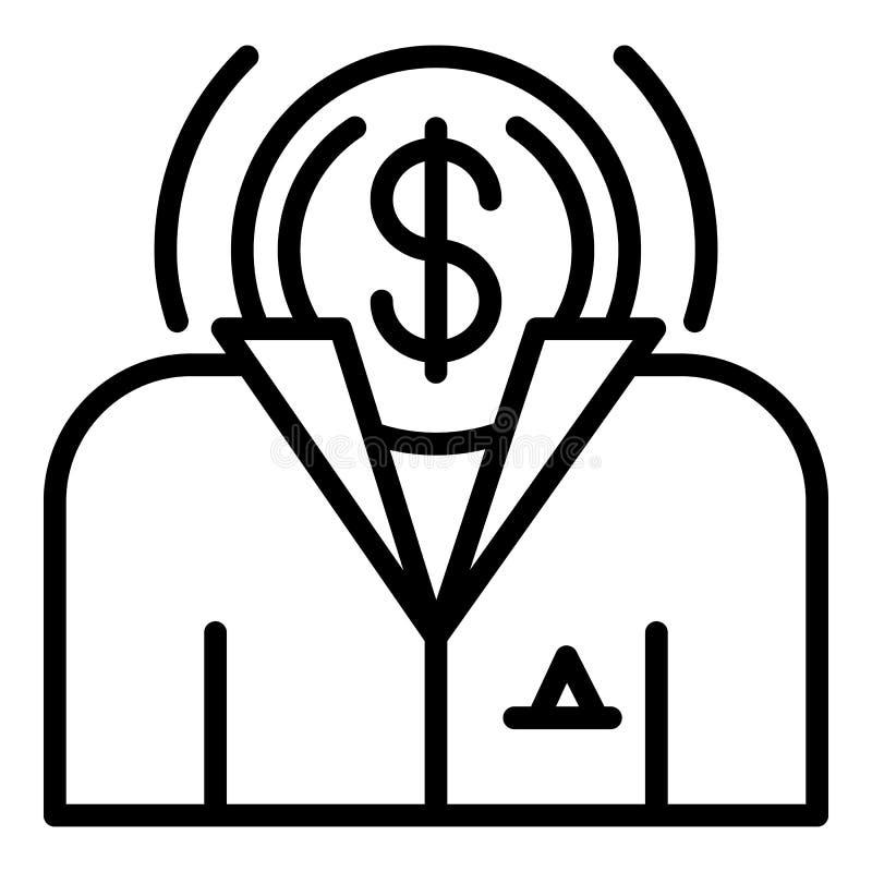 Geldbestechungs-Gesichtsikone, Entwurfsart stock abbildung