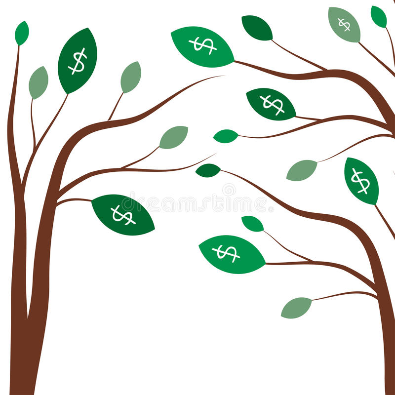 Geldbomen Bedrijfsconcept met witte dollartekens op de groene boombladeren vector illustratie