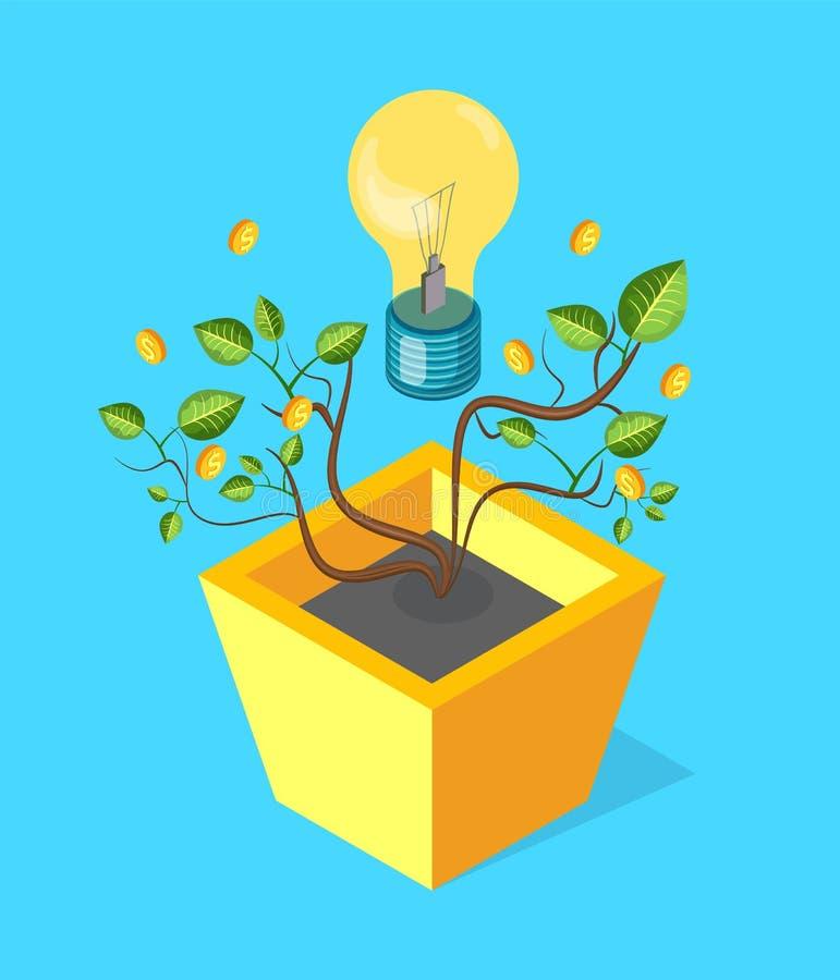 Geldboom met Bladerenmuntstukken en het Gloeien Lightbulb stock illustratie