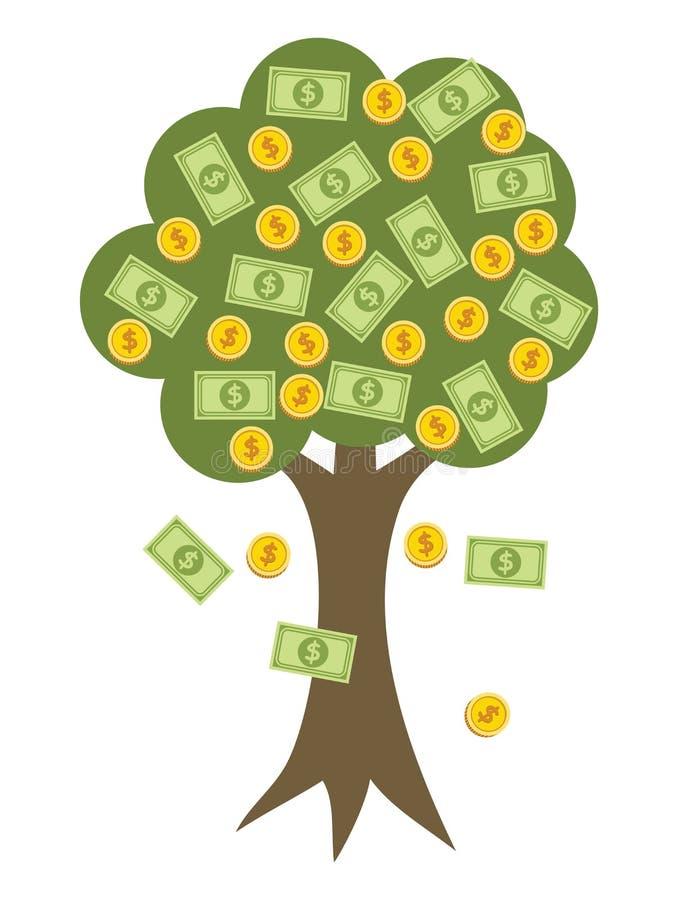 Geldboom met gouden muntstukken vector illustratie
