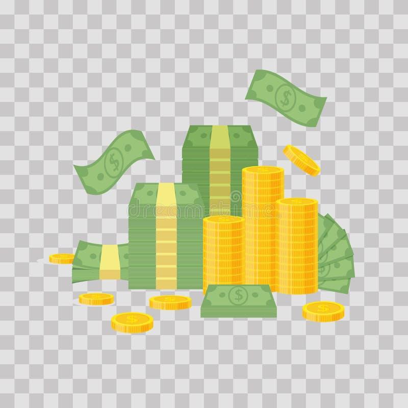 Geldbundel en muntstukstapel op transparante achtergrond Groene dollarbankbiljetten, rekeningenvlieg, gouden muntstukken - vlakke stock illustratie