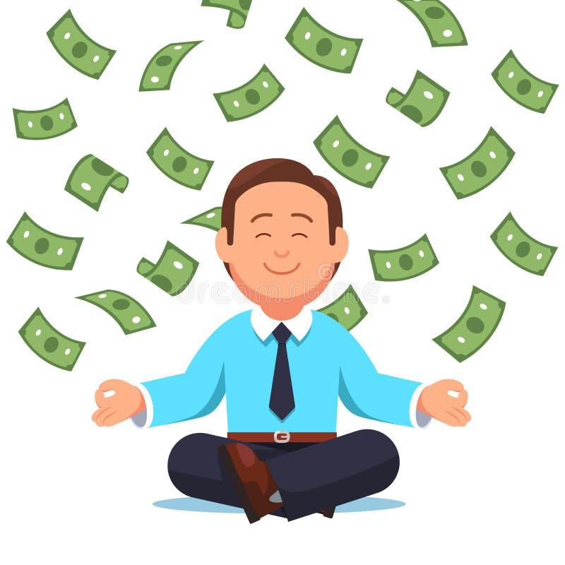 Geldcontant geld die neer op bedrijfsmensenzitting vliegen stock illustratie