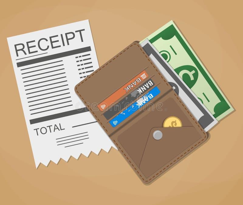 Geldcontant geld en ontvangstbewijs stock illustratie